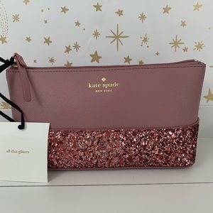 Kate Spade   Little Shiloh Pink Glitter Makeup Bag